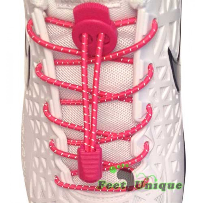 Reflective lock hot pink shoelaces