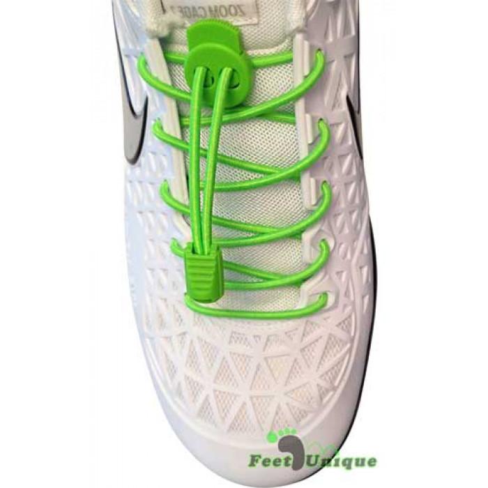 Elastic lock neon green shoelaces