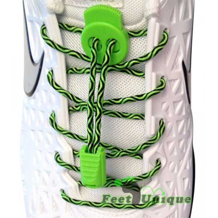 Elastic lock black & green shoelaces