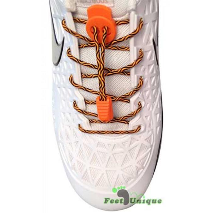Elastic lock black orange laces