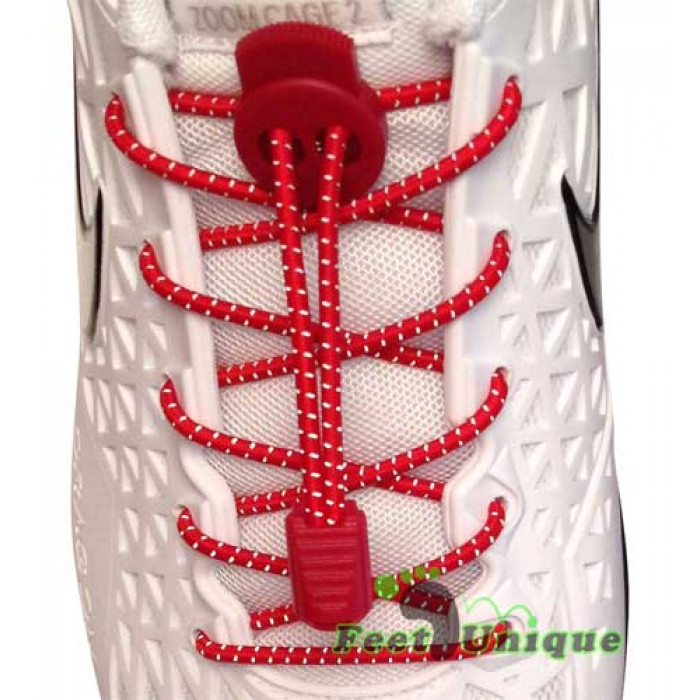 Reflective lock red shoelaces