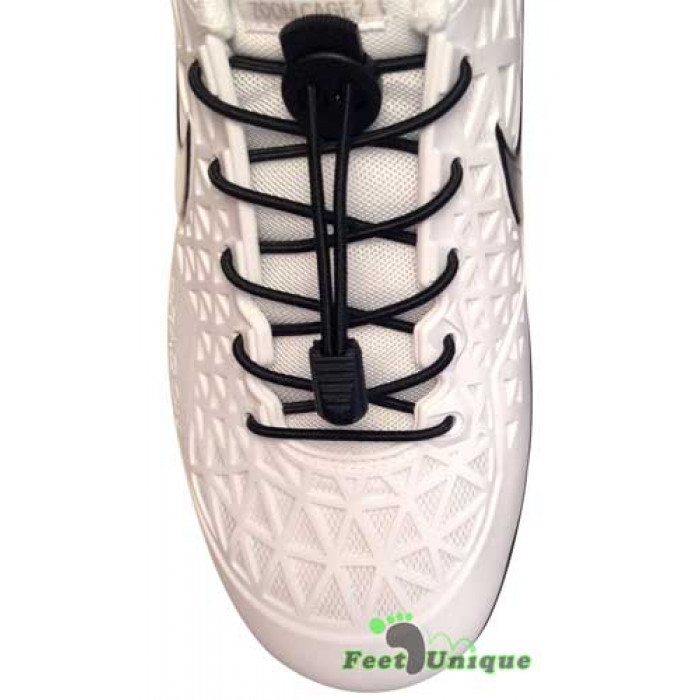 Elastic lock black shoelaces