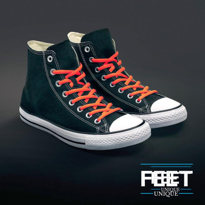 Oval neon orange shoelaces
