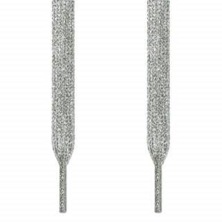 Metallic silver shoelaces