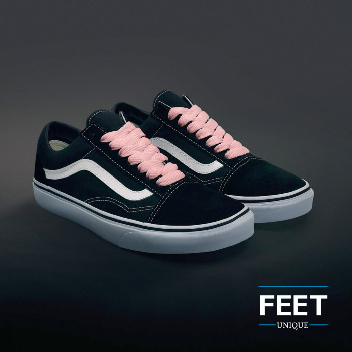 Extra wide pink shoelaces