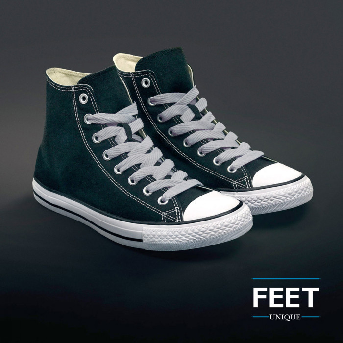 Extra wide light grey shoelaces