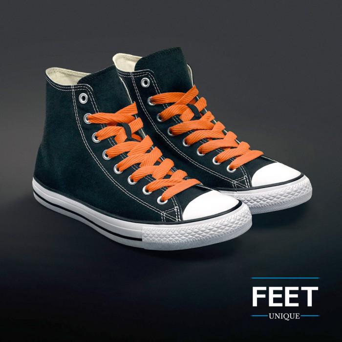 Extra wide orange shoelaces