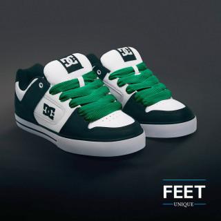 Super wide green shoelaces