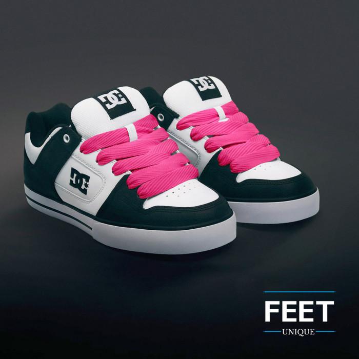 Super wide hot pink shoelaces