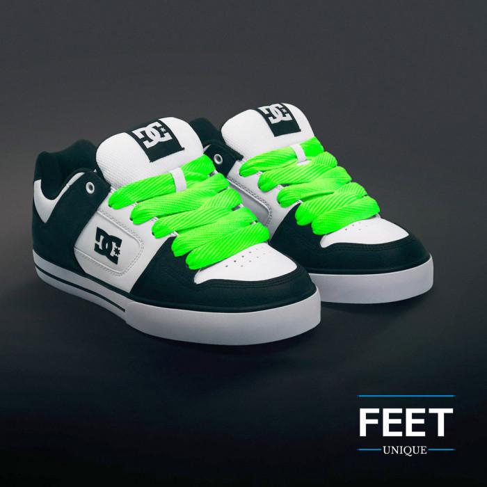 Super wide neon green shoelaces