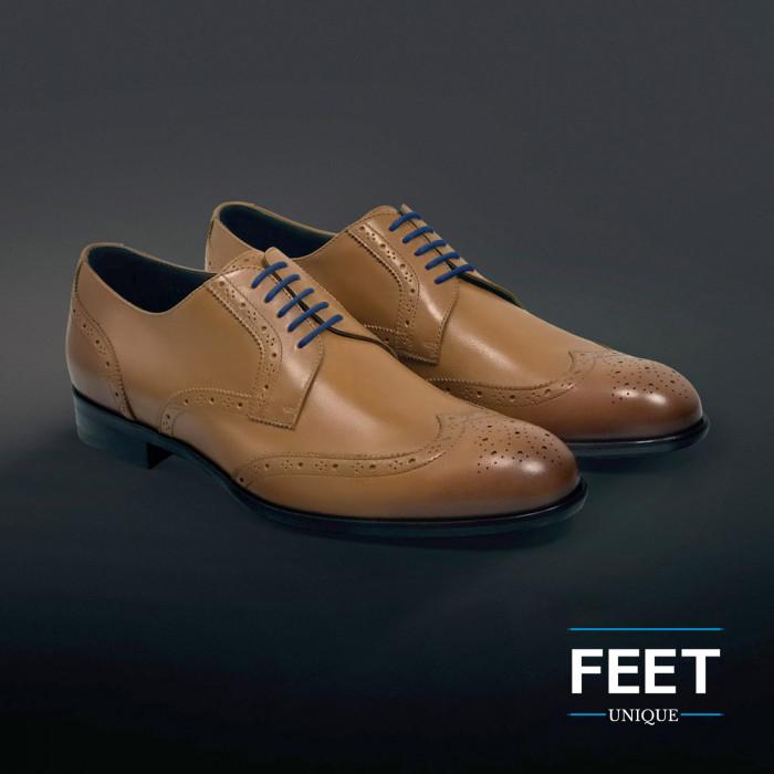 round navy blue dress shoelaces