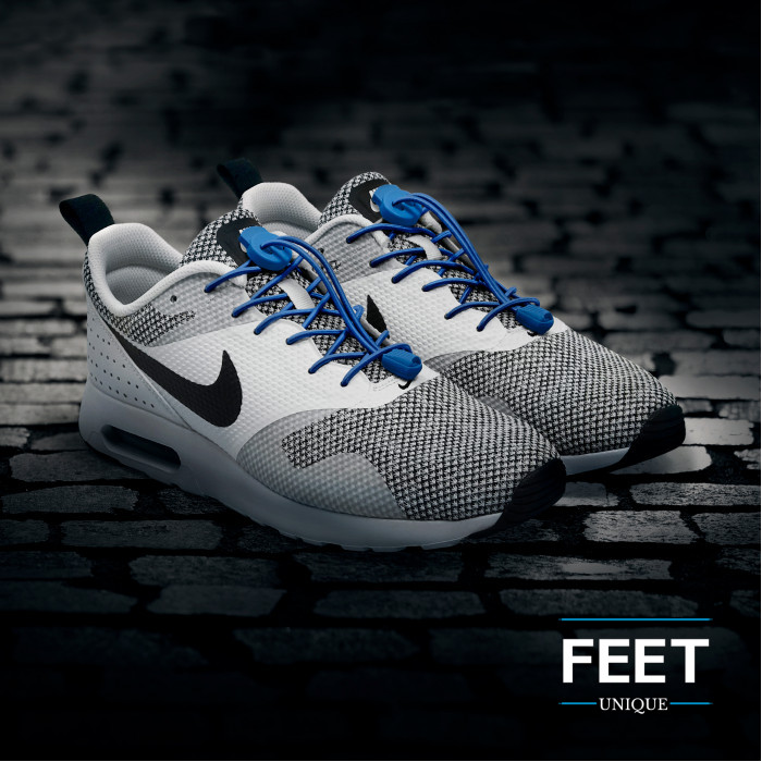 Elastic lock blue shoelaces
