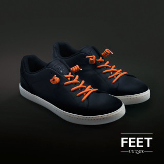 Orange curly shoelaces