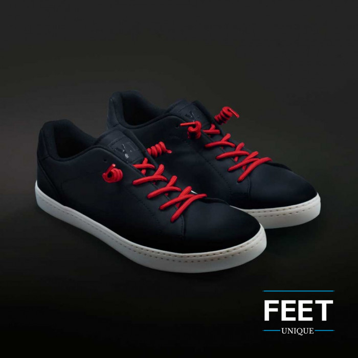 Red curly shoelaces