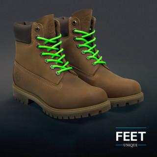 Round neon green shoelaces