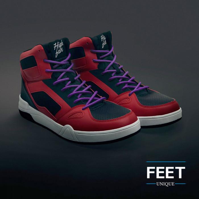 Round purple shoelaces
