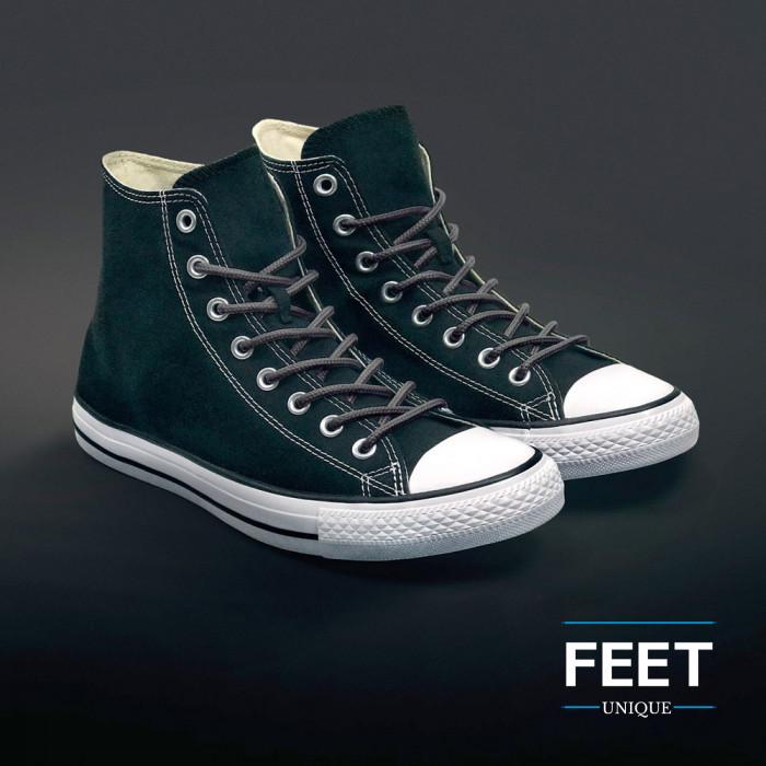 Round dark grey shoelaces