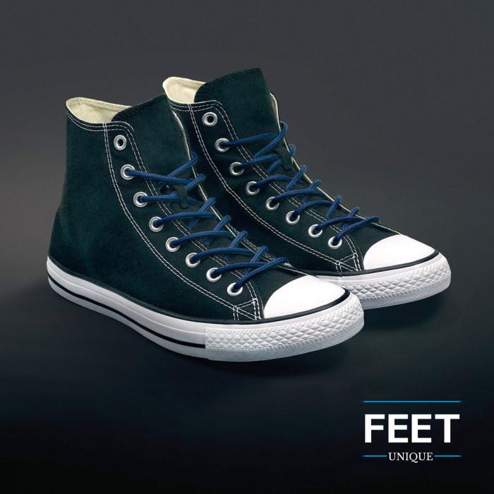 Round navy blue shoelaces