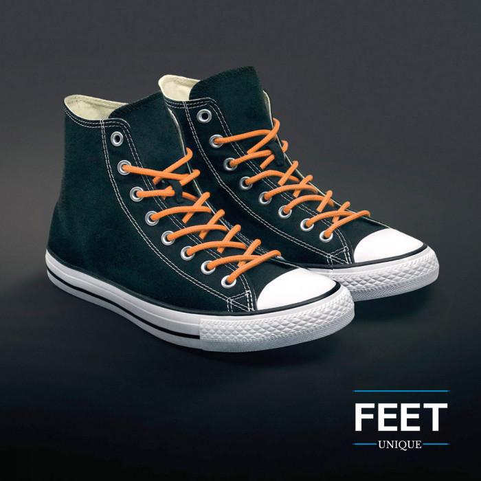 Round orange shoelaces