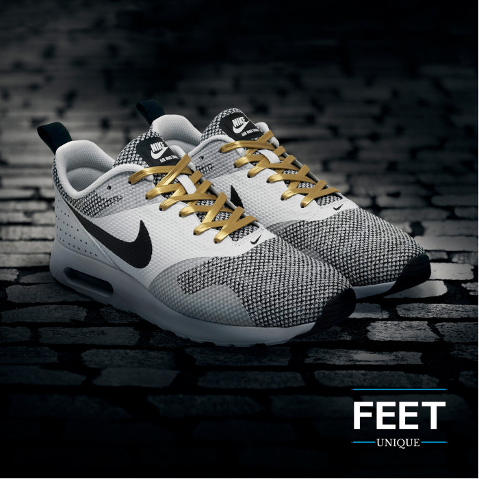 Gold leather shoelaces