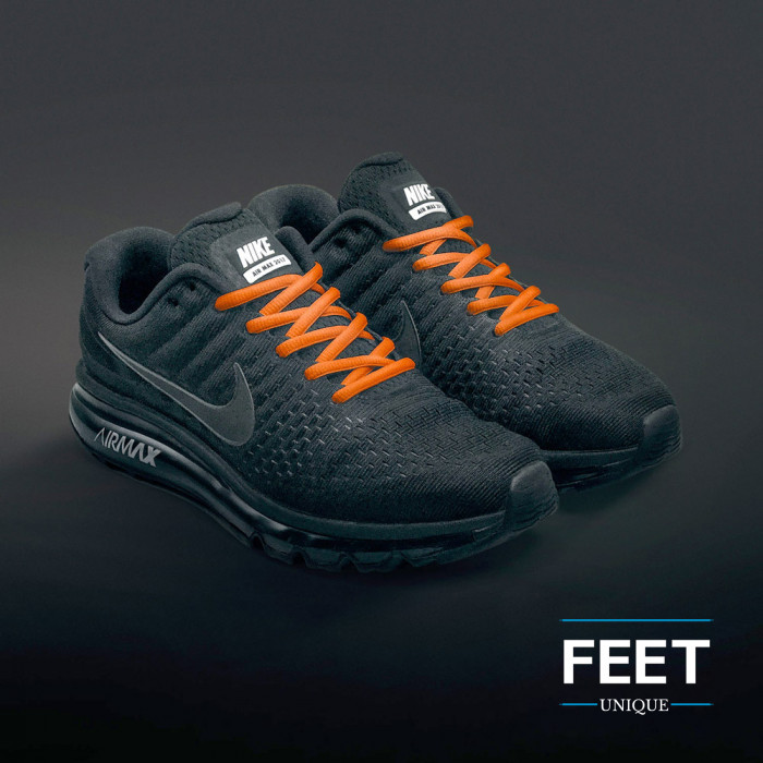 Oval orange shoelaces