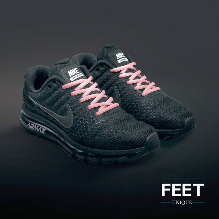 Oval pink shoelaces