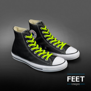Elastic flat neon yellow shoelaces (no tie)