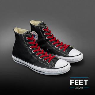 Elastic flat red shoelaces (no tie)
