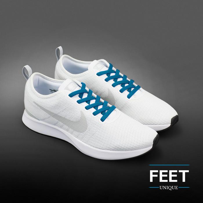 Elastic turquise-blue shoelaces (no tie)