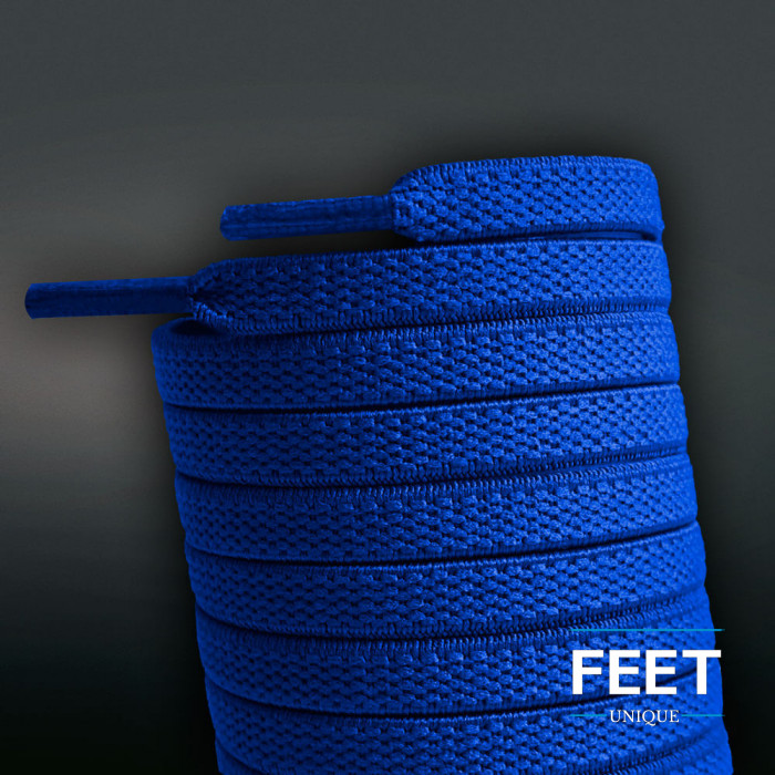 Elastic flat blue shoelaces (no tie)