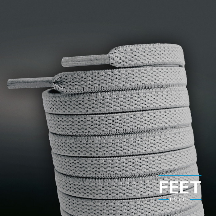 Elastic Flat Light Grey Shoelaces (No Tie)