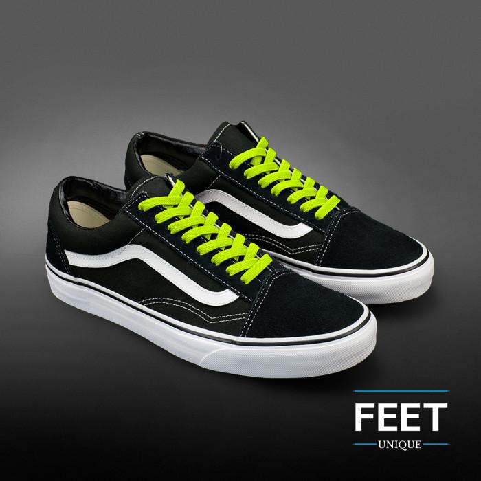 Elastic flat neon yellow shoelaces (no tie)