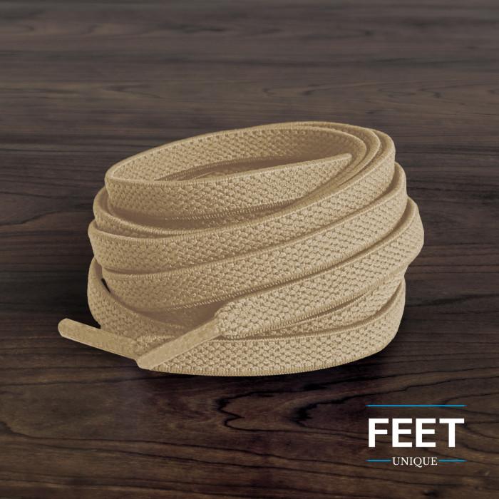Elastic Flat Light Brown Shoelaces (No Tie)