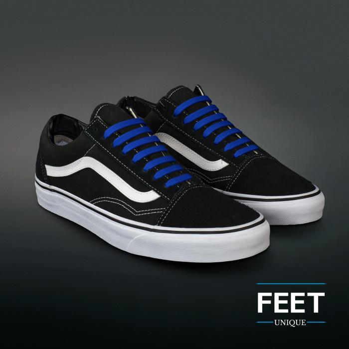 Blue elastic silicone shoelaces