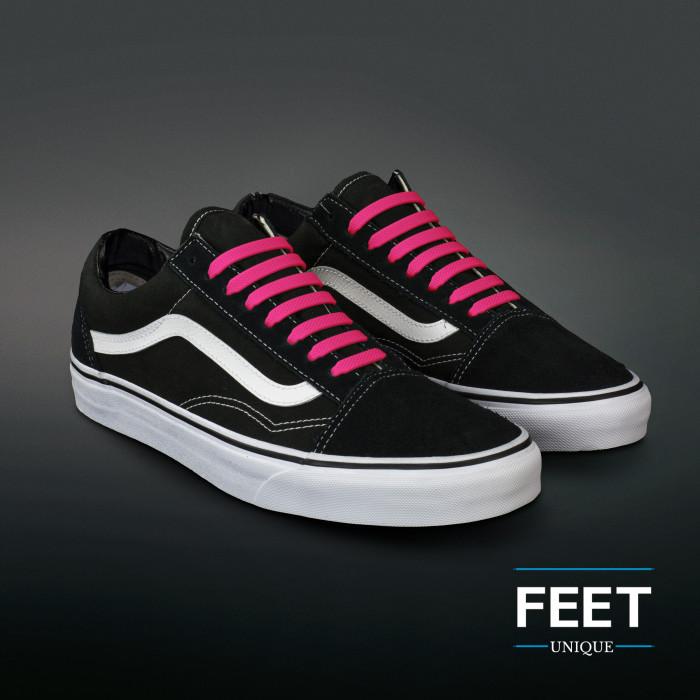 Hot pink elastic silicone shoelaces