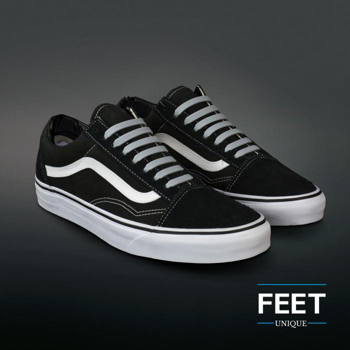 Light grey elastic silicone shoelaces