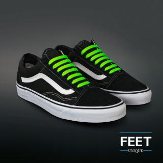 Neon green elastic silicone shoelaces