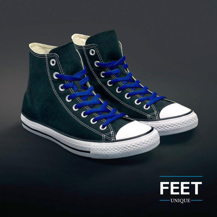 Flat blue shoelaces