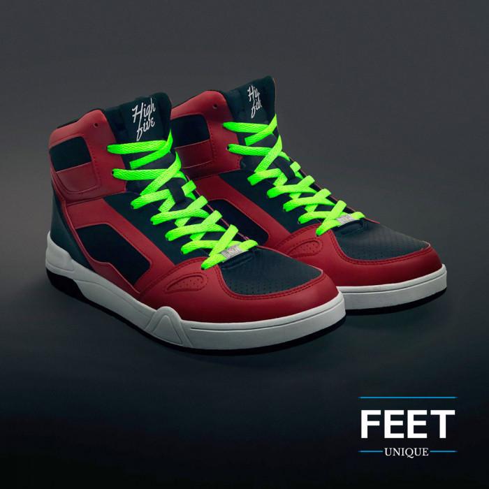Flat neon green shoelaces