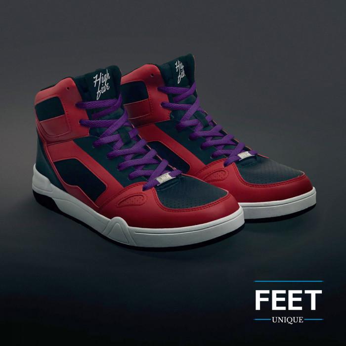 Flat purple shoelaces