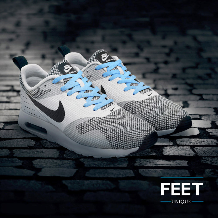 Flat light blue shoelaces
