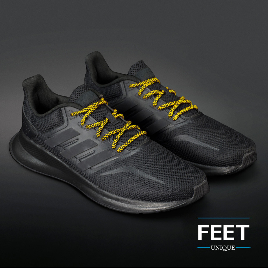 Rope laces in black and yellow. Start
